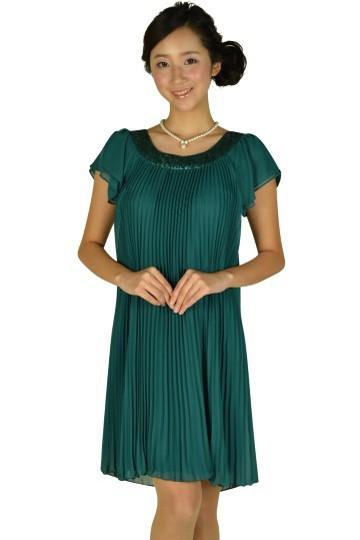 ゆったりプリーツグリーンドレス