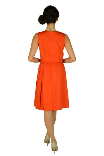 Vネックブライトオレンジドレス