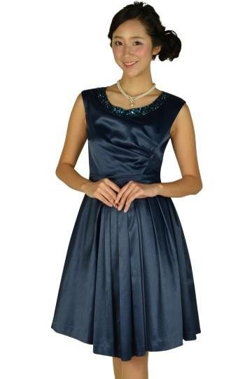 ラメ素材ネイビービジュドレス