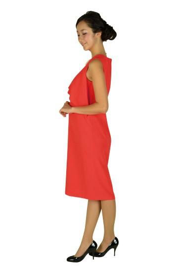 フロントフレアレッドオレンジドレス