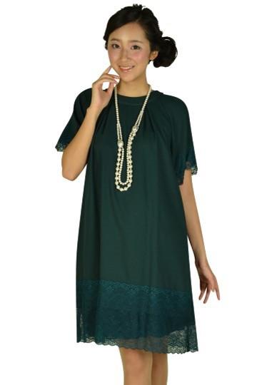 袖付きグリーンレースドレス