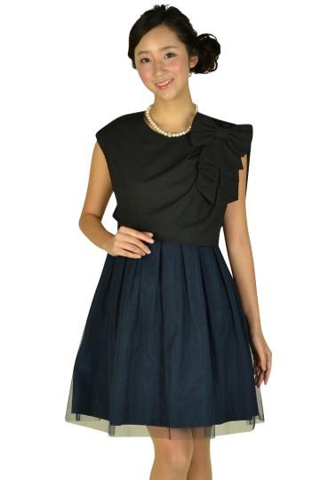 リボン付きネイビースカートドレス