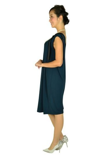 肩リボンIラインネイビードレス