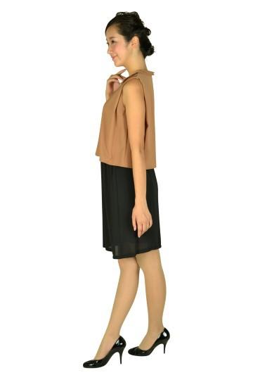 襟付きキャメルバイカラードレス