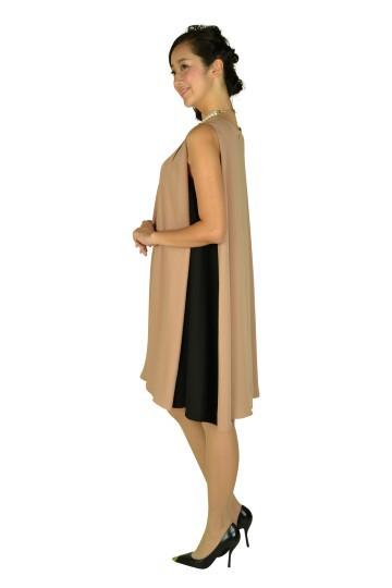 ベージュサイドブラックバイカラードレス