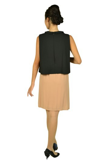 襟付きブラックバイカラードレス