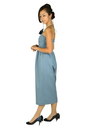 グレーブルーチューブトップパンツドレス