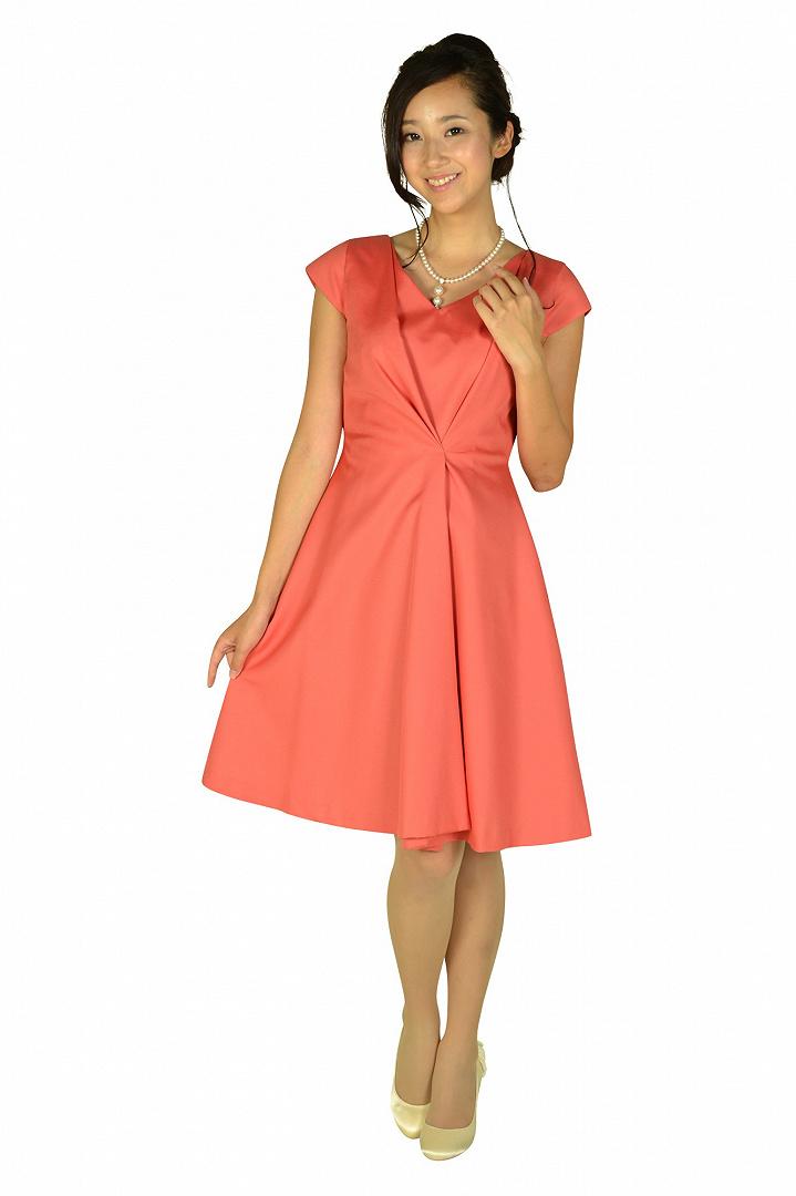 エレガントタックオレンジピンクドレス