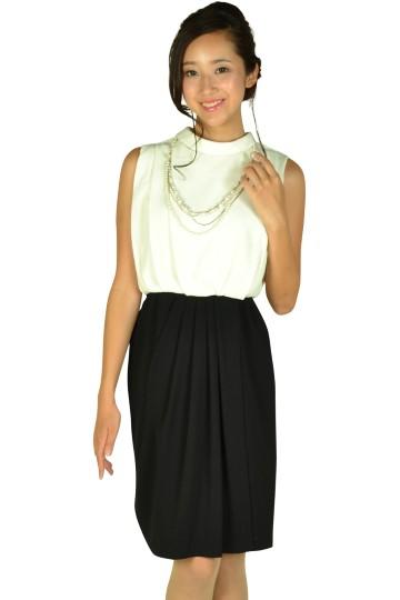 襟2wayホワイト×ブラックバイカラードレス