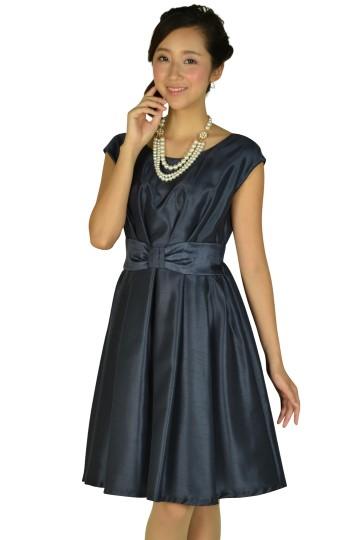 ウエストリボンネイビードレス