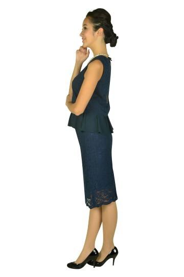 フラワーレースセットアップネイビードレス