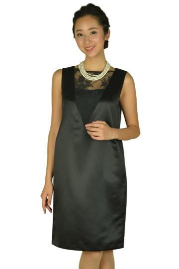 ゆったり光沢ブラックドレス