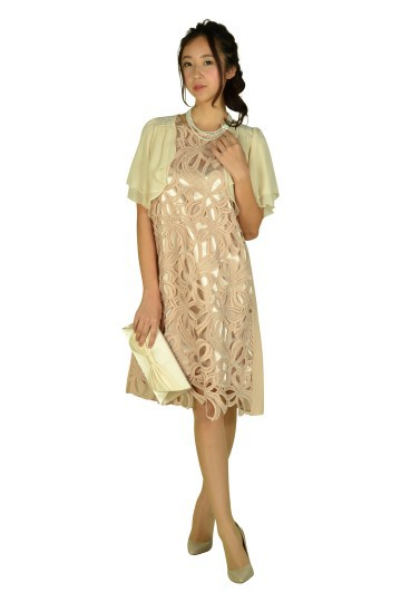 大判レースピンクベージュドレス