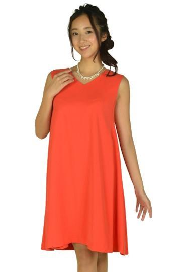 VネックAラインオレンジドレス