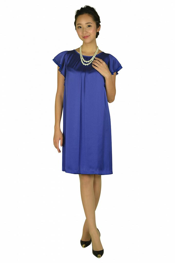 フレア袖ブルーカラードレス