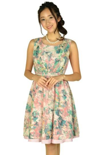 ぼかしフラワーピンクドレス