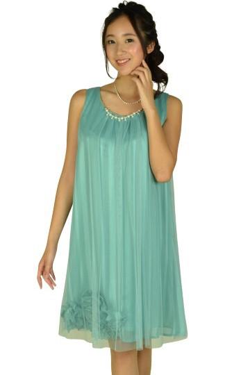 チュールストライプミントカラードレス