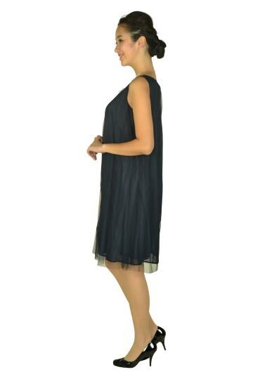 チュールストライプネイビードレス
