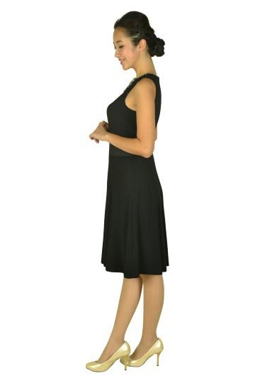 ビジュークリスタルネックブラックドレス