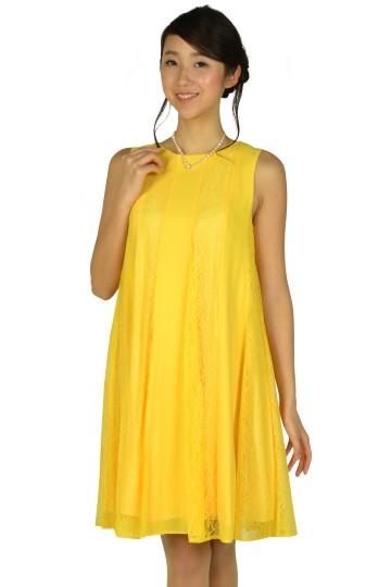 ビビットイエローレースドレス