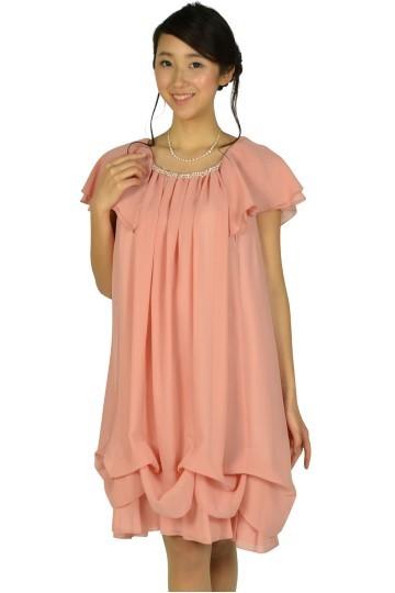 ゆったりAラインピンクドレス