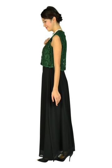ブラック×グリーンロングドレス