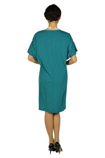 ゆったり5分袖ブルーグリーンドレス