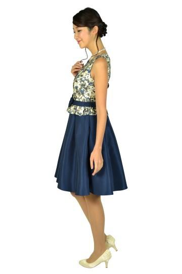 編み上げフラワーネイビードレス