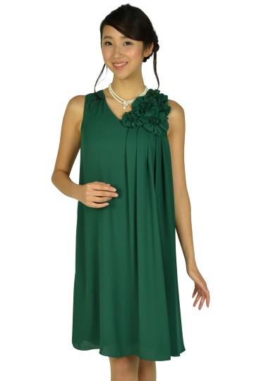 フラワーコサージュグリーンドレス