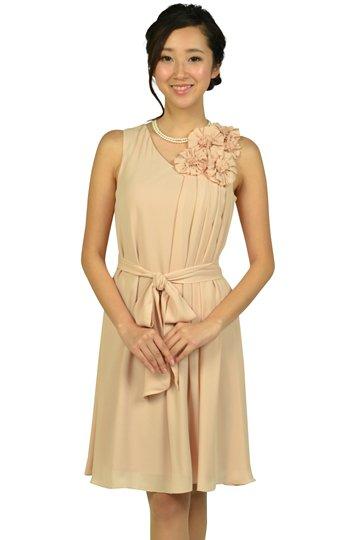 フラワーコサージュベージュドレス
