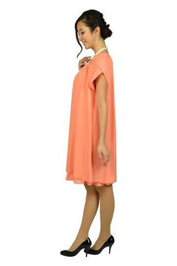 ラメフリルコーラルオレンジドレス