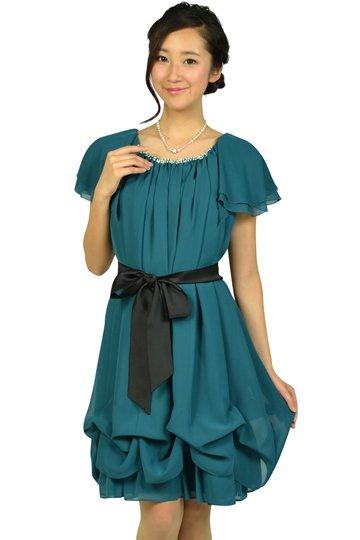 ゆったりAラインブルーグリーンドレス