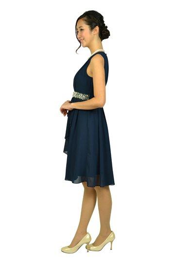 ウェストビジュシフォンネイビードレス