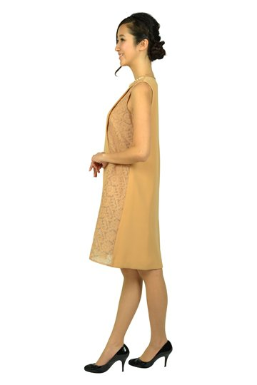 フラワーオーガンジーベージュドレス
