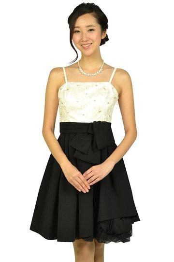 フラワー刺繍オフホワイト×ブラックドレス
