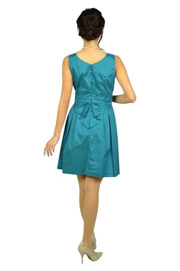フェミニンタックブルーグリーンドレス
