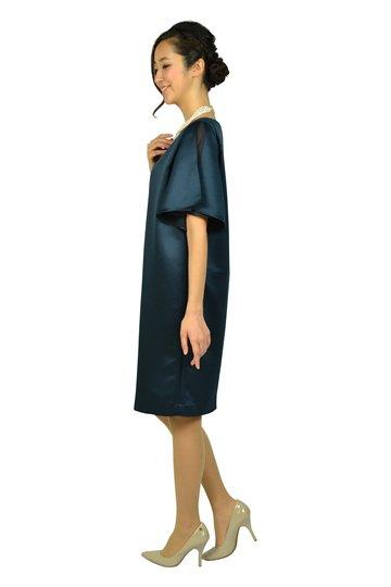 光沢ネイビーゆったりドレス
