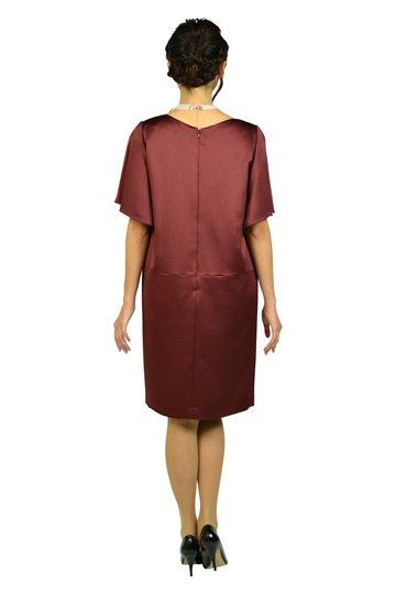 光沢ボルドーゆったりドレス