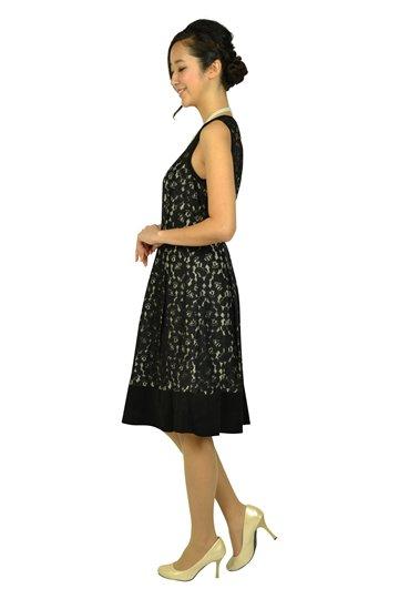 ブラックフラワーレースドレス