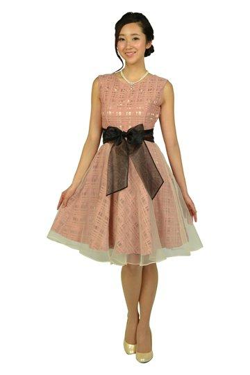 スモーキーピンクチェックドレス