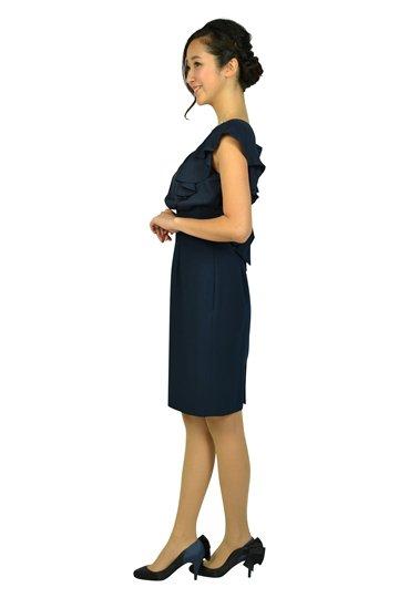ネックビジュタイトネイビードレス