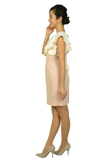 ビジュフリルタイトピンクドレス