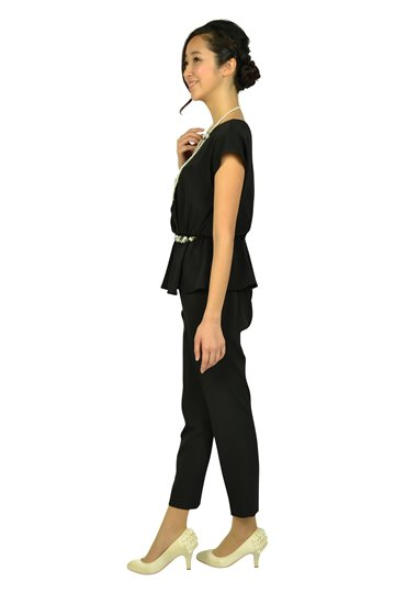 ビジュぺプラムブラックパンツドレス