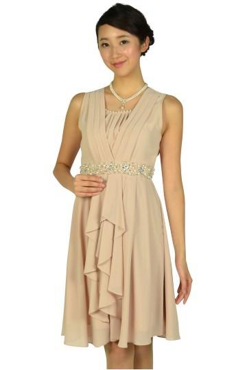 ウェストビジュシフォンピンクドレス