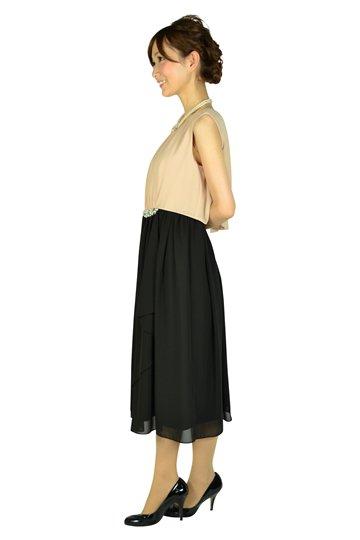 ウェストパールバイカラードレス
