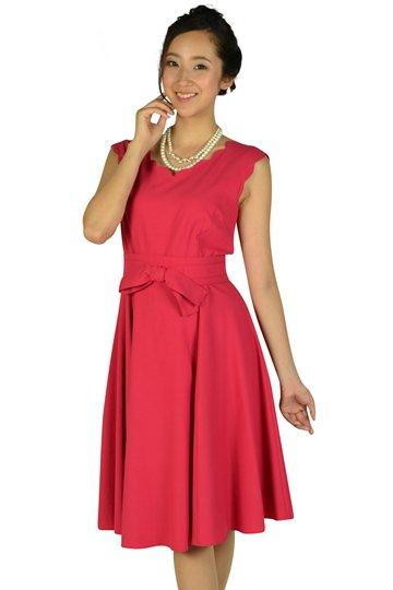 スカラップカットストロベリーピンクドレス