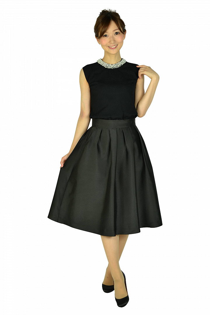 サマーニットトップスブラックドレス