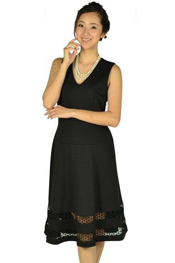 裾カットレースブラックドレス