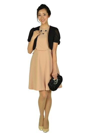 セパレート風デザインピンクベージュドレス