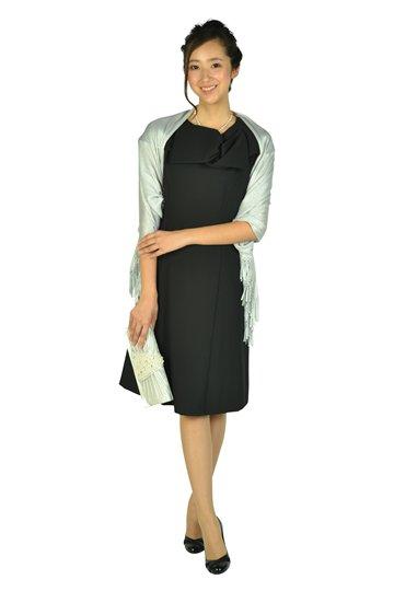 上品付け襟ブラックドレス